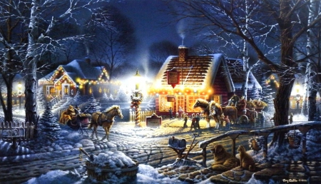 Sweet Memories - houses, cart, cat, horse, artwork, winter, snow, people, painting, village, light, dog, night