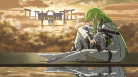 C2 - pretty, code geass, dome, sweet, nice, fantasy, gun, anime, shrine, geass, anime girl, weapon, reflection, long hair, c c, light, pistol, female, horizon, lovely, cc, palace, sky, girl, c2, fortress, green hair