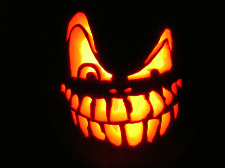 Happy Halloween - lit up face, halloween, toothy grin