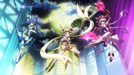 Symphogear - pretty, float, beautiful, magic, robot, angry, sweet, nice, fantasy, group, mecha, anime, beauty, anime girl, tsubasa, weapon, night, female, cloud, lovely, llong hair, building, armor, warrior, girl, planet, sinister, scene