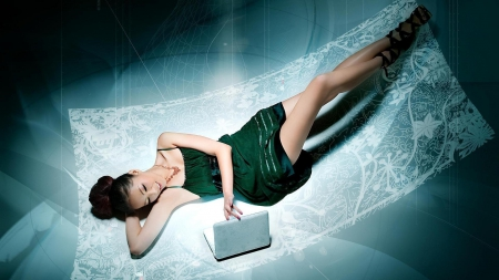 Girl with laptop - girl, asian, smile, laptop, lyig down, long legs, green dress