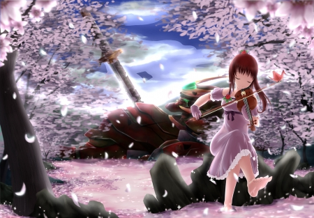 Morning Melodia - pretty, dress, sakura blossom, beautiful, robot, floral, cherry blossom, sweet, blossom, nice, mecha, blade, anime, beauty, anime girl, long hair, sword, sakura, violin, female, lovely, brown hair, music, blouse, girl, katana, flower, petals, sundress, scene