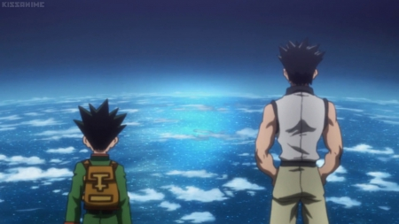 Sea of Clouds - pretty, gon, guy, beautiful, black hiar, sweet, stand, nice, spiky hair, anime, beauty, freecss, scenery, gon freecss, hunter x hunter, look, cloud, male, horizon, lovely, sky, short hair, boy, ging, standing, looking, scene
