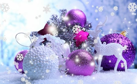 christmas decorations purple balls decorations white deer