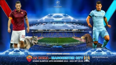 AS ROMA - MANCHESTER CITY - city wallpaper, champions league wallpaper, champions league, sergio aguero, totti, MANCHESTER CITY wallpaper, AS ROMA wallpaper