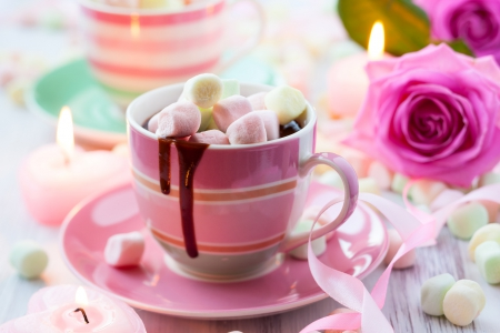 Hot Chocolate And Marshmallow - dish, rose, marshmallows, ribbon, love, cup, hot chololate, candles