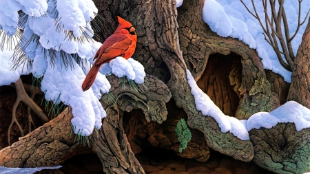 Winter Cardinals - red, tree, bird, snow, artwork