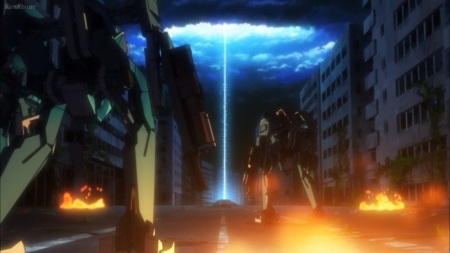 GC: Break the Light - pretty, glow, guilty crown, magic, robot, sweet, nice, flame, mecha, anime, beauty, scenery, light, night, cloud, lovely, sky, building, fire, blaze, dark, scene