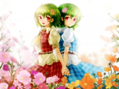 Just Me - pretty, dress, beautiful, adorable, floral, sweet, kazami yuuka, double, blossom, nice, anime, touhou, beauty, anime girl, twins, female, lovely, gown, short hair, cute, kawaii, girl, flower, petals, green hair