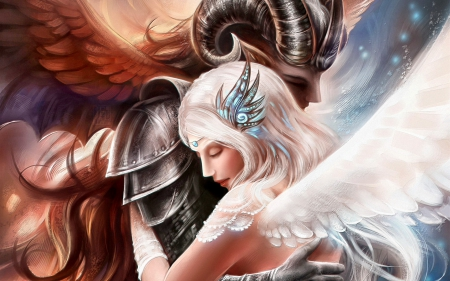 ANGEL and DEMON in LOVE - wings, angel, digital art, abstract, digital fantasy, fantasy creature, demon, fantasy, love, affection