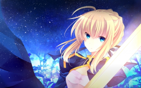 saber - fate zero, fate stay night, anime, blonde, blue eyes