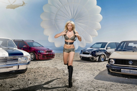 Cowgirl Skydiver - female, models, boots, helicopter, fun, women, cars, parachute, cowgirls, girls, blondes, western, style