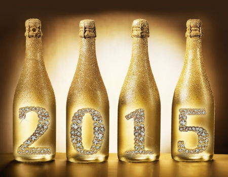 2015 - gold, bottle, champagne, new year, happy, 2015