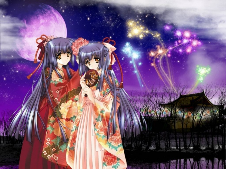 Kimono's Night - pretty, beautiful, sweet, nice, japan, moon, anime, fireworks, yukata, darkness, beauty, anime girl, scenery, long hair, twins, night, female, lovely, japanese, sky, kimono, girl, oriental, dark, scene