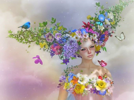 ~Spring Fairy~ - pretty, softness beauty, beautiful, digital art, 3D and CG, fairies, flowers, girls, butterfly designs, models, lovely, colors, love four seasons, creative pre-made, butterflies, spring, weird things people wear, lady, white