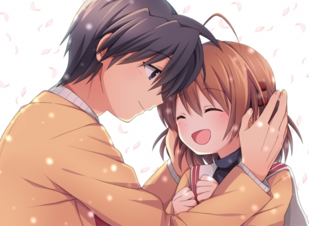 Clannad - pretty, furukawa, tomoya okazaki, adorable, clannad, furukawa nagisa, sweet, okazaki, nice, anime, tomoya, anime girl, couple, female, male, lovely, nagisa furukawa, smile, anime couple, smiling, okazaki tomoya, happy, nagisa, cute, boy, kawaii, girl, petals
