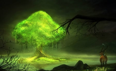 Glowing tree - world, art, luminos, glowing, tree, fantasy, green, goat, magical