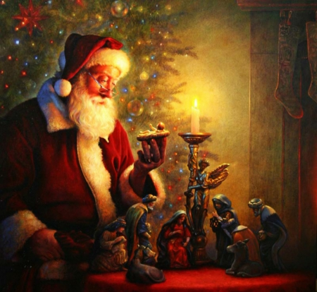 Meaning of Christmas - nativity, candle, santa, christmas, baby, Jesus