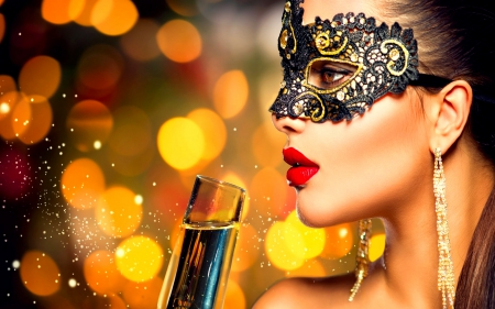 MASQUERADE BEAUTY - carnival, Masquerade, girl, drinks, party