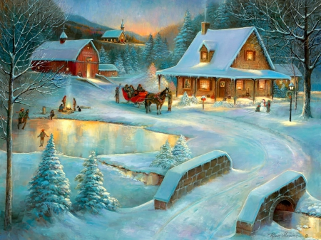 Village pond - dusk, lights, bridge, painting, village, skater, frost, art, houses, fun, joy, winter, pond, snow, ice, peaceful, frozen