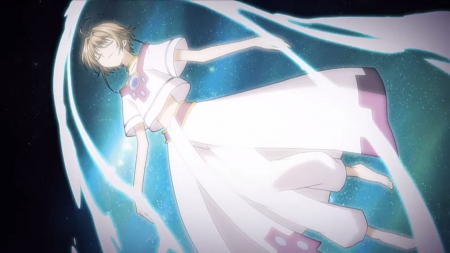 Endless Dreams - pretty, dress, glow, float, beautiful, magic, sweet, nice, fantasy, anime, beauty, anime girl, xxxholic, tsubasa, clamp, light, sakura, female, lovely, glowing, princess sakura, brown hair, tsubasa reservoir chronicle, short hair, sakura hime, girl, magical