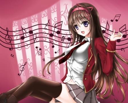 Music Notes - red, pretty, hd, cg, notes, beautiful, sweet, nice, miniskirt, anime, hot, beauty, anime girl, long hair, shirt, drress, female, lovely, brown hair, music, skirt, blouse, sexy, girl, jacket