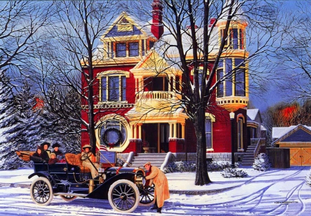 Winter holiday - art, house, christmas, holiday, winter, retro, snow, car, painting