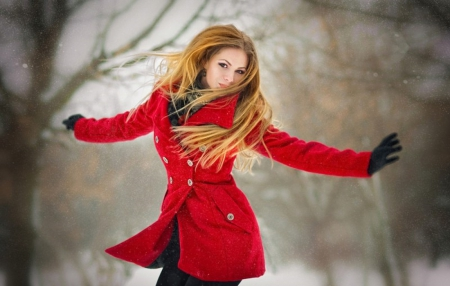 Happy Winter ♥ - red, blond, beautiful, woman, happy, winter, photography, girl, beauty