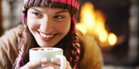 Cozy Smile - warm, cozy, coffee, girl, smiling, happy, fire place