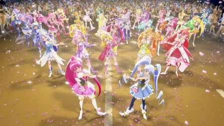 Dancing Floor - pretty, myoudouin, dress, glow, dancing, sweet, magical girl, nice, pretty cure, group, anime, anime girl, long hair, light, team, female, lovely, glowing, gown, myoudouin itsuki, cute, kawaii, girl, precure, itsuki, itsuki myoudouin, dance, scene