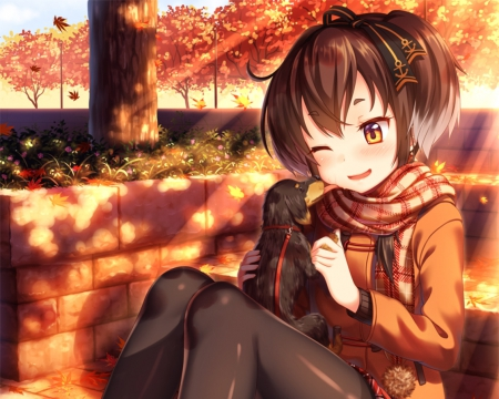 Puppy ^^ - pretty, blush, beautiful, adorable, sweet, nice, anime, love, beauty, anime girl, dog, puppy, female, lovely, brown hair, shadow, bench, park, happy, short hair, tree, shades, girl, blushing, scene