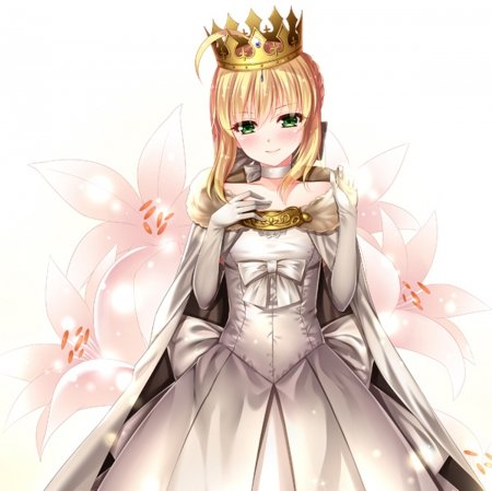 White Lily - pretty, green eyes, adorable, sweet, floral, arturia pendragon, arturia, nice, anime, royalty, beauty, anime girl, long hair, lovely, amour, blonde, flora, cute, crown, white, saber, dress, blond, queen, adore, beautiful, sublime, elegant, pendragon, fate stay night, blossom, tiara, female, blonde hair, plain, blond hair, kawaii, girl, flower, simple, princess, angelic
