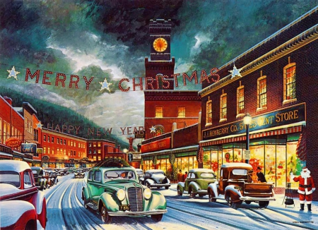 Christmas town - rush hour, beautiful, lights, merry, painting, evening, street, art, holiday, time, christmas, new year, sky, winter, cars, retro, santa, snow