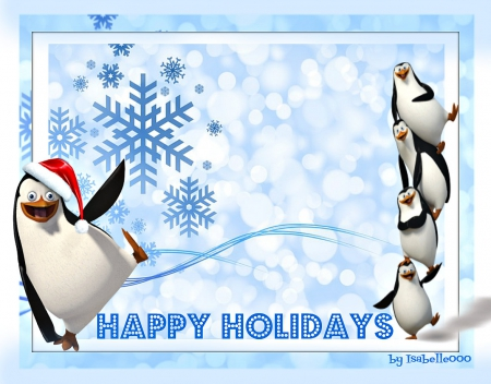 **Happy HOLIDAYS *** - holidays, season, penguins, happy, greetings, winter