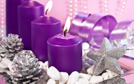 Purple Christmas! - ornaments, purple candles, stars, silver, purple Christmas, candles
