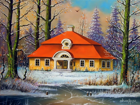 Borderland manor - art, house, borderland, beautiful, manor, winter, serenity, snow, painting, peaceful, frost