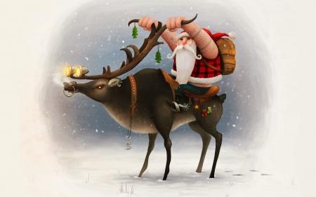 Biker Christmas.Biker Santa On A Reindeer Fantasy Abstract Background