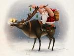 Biker Santa On A Reindeer