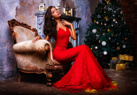 Lady in red - red, tree, christmas, chair, lady