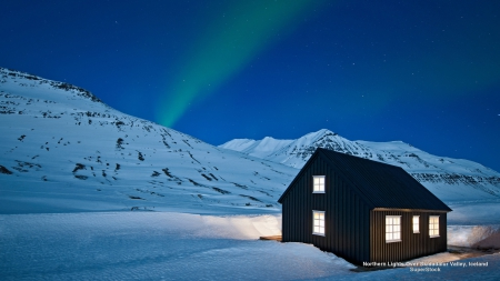 Northern Lights over Icelandic House - house, snow, mountains, aurora borealis, nature, sky, winter