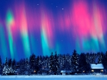 Aurora Borealis over Norway in Winter