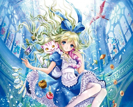 Alice - cake, pretty, adorable, sweet, cupcake, nice, anime, beauty, anime girl, long hair, lovely, food, ribbon, gown, blonde, cute, alice in wonderland, cup, plate, float, dress, blond, flamingo, beautiful, loli, blue, female, alice, lolita, blonde hair, blond hair, kawaii, girl