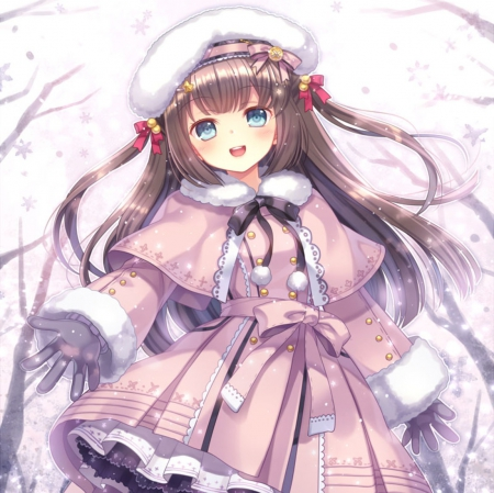 Let it Snow - pretty, blush, beautiful, adorable, sweet, nice, loli, anime, beauty, anime girl, long hair, female, lovely, brown hair, lolita, smile, smiling, winter, happy, cute, flakes, kawaii, girl, snow, snowflakes, blushing