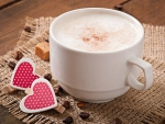 Cup Of Latte With Hearts