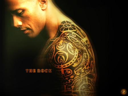 The Rock - logo, rock, hollywood, great, dark, tattooed, wwe, superstar, johnson, one, the, wrestling, wrestler