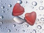 Two Red Glass Hearts