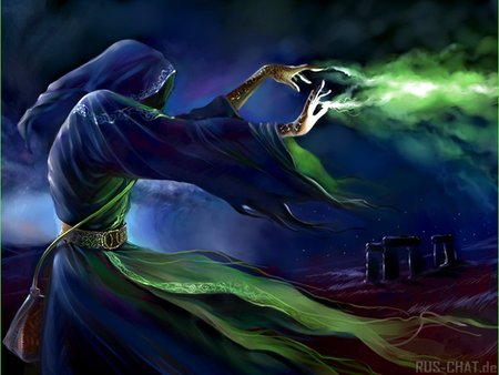 Black Magic - fantasy, blue, dark, green, magic, dark art, mystery