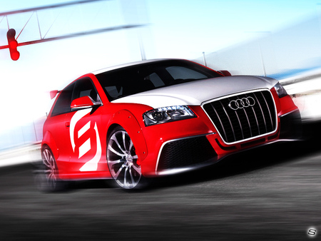audi - car, sexy, sports, custom, speed, motor, audi, sher ali, red, automobile