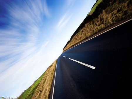 Roads - highway, cool, new, fields, abstract, sky, vista