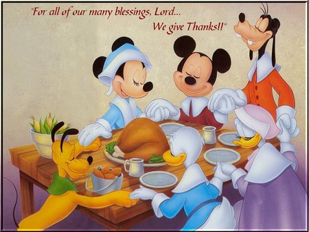 A Disney Thanksgiving - meal, minney, dinner, holiday, food, goofy, thanksgiving, donald, greatful, thankful, pluto, mickey, daisy